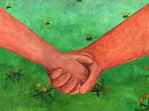 Holding Hands Illustration
